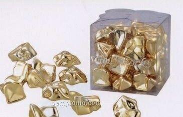 Decorative Plastic Gold Or Silver Rocks In Clear Cube Box