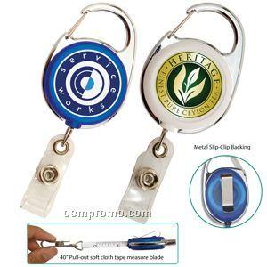 """Retractable Carabiner Badge Reel W/ 40"""" Tape Measure (Overseas 8-10 Weeks)"""