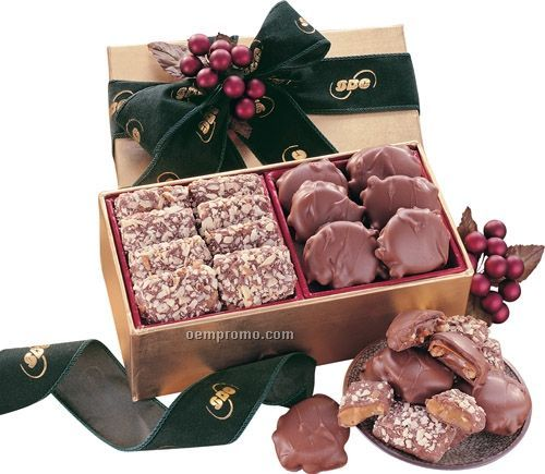Gold Gift Box W/ English Butter Toffee & Pecan Turtles