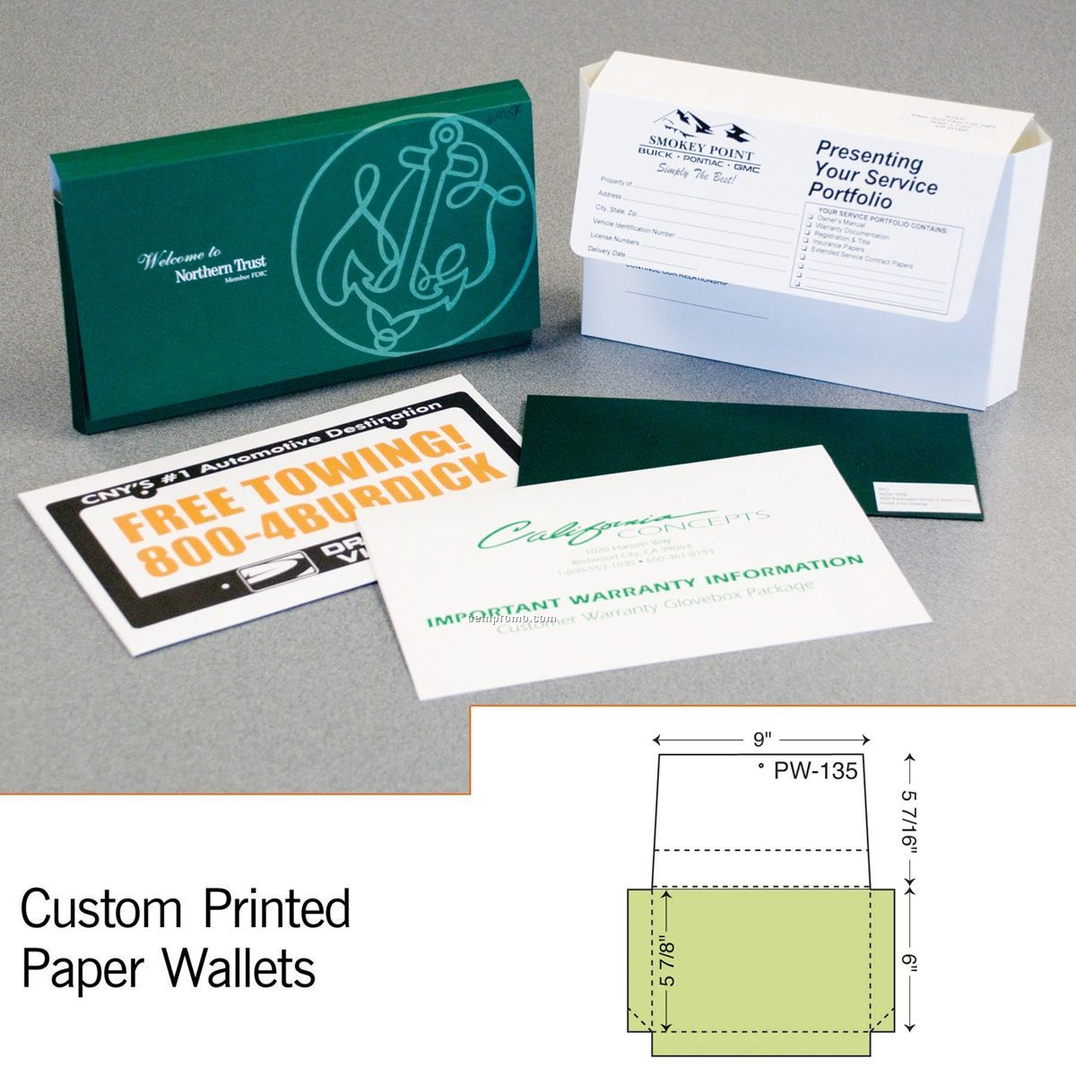 "Paper Wallet W/ 2"" Flap Expansion (1 Color/1 Side)"