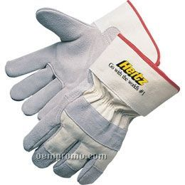 Select Split Cowhide Leather Work Glove W/ White Canvas Back (Large)