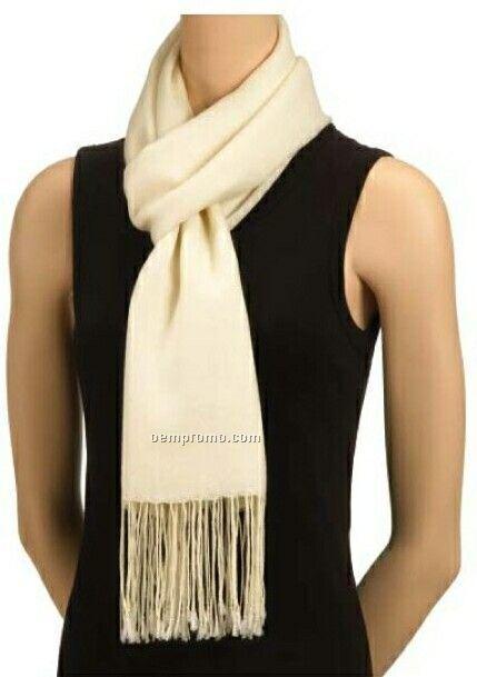 Wolfmark Ivory Pashmina Silk/ Wool Blend Scarf
