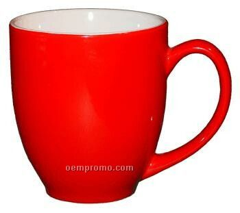 16 Oz. White In/Red Out Ceramic St Paul Bistro Mug