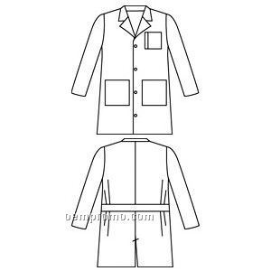 Men's Landau Tailored Twill Lab Coat W/ 3 Pockets (White)