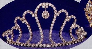 "3 7/8"" Austrian Crystal Rhinestone Tiara With Round Dangle"