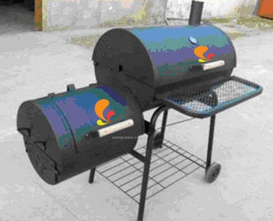Barbecue Grill - Barrel Style W/Side Fire Box