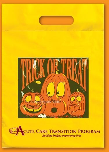 "Yellow Fold Over Die Cut Halloween Bag - 2 Mil Polyethylene (12""X17"")"