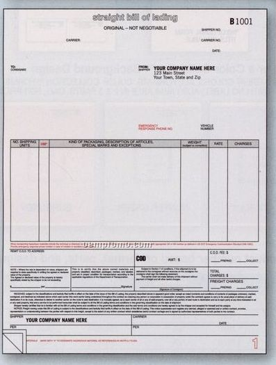 """3 Part Classic Laser Bill Of Lading (8 1/2""""X11"""")"""