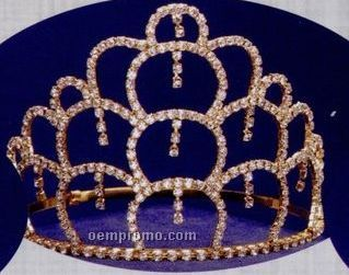 "5"" Austrian Crystal Rhinestone Tiara With Multiple Dangles"
