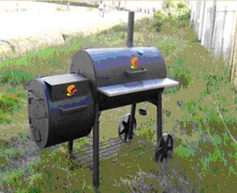 Barbecue Grill - Barrel Style W/Large Side Fire Box