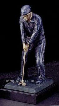 "Cold Cast Golfer Sculpture On Marble Base (11"")"