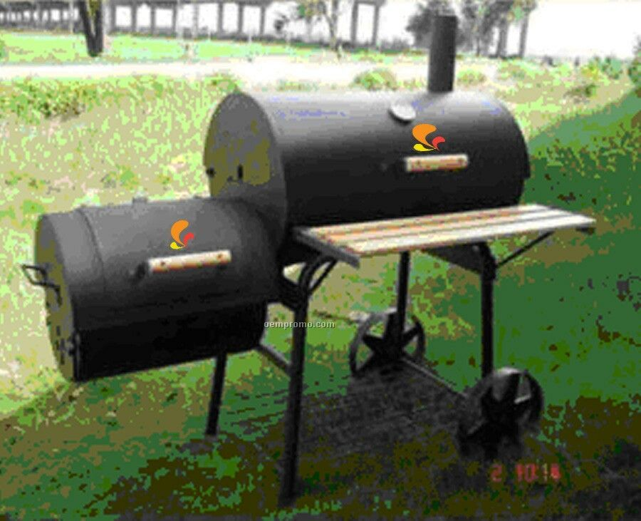 Barbecue Grill - Barrel Style W/Side Fire Box And Wood Trim