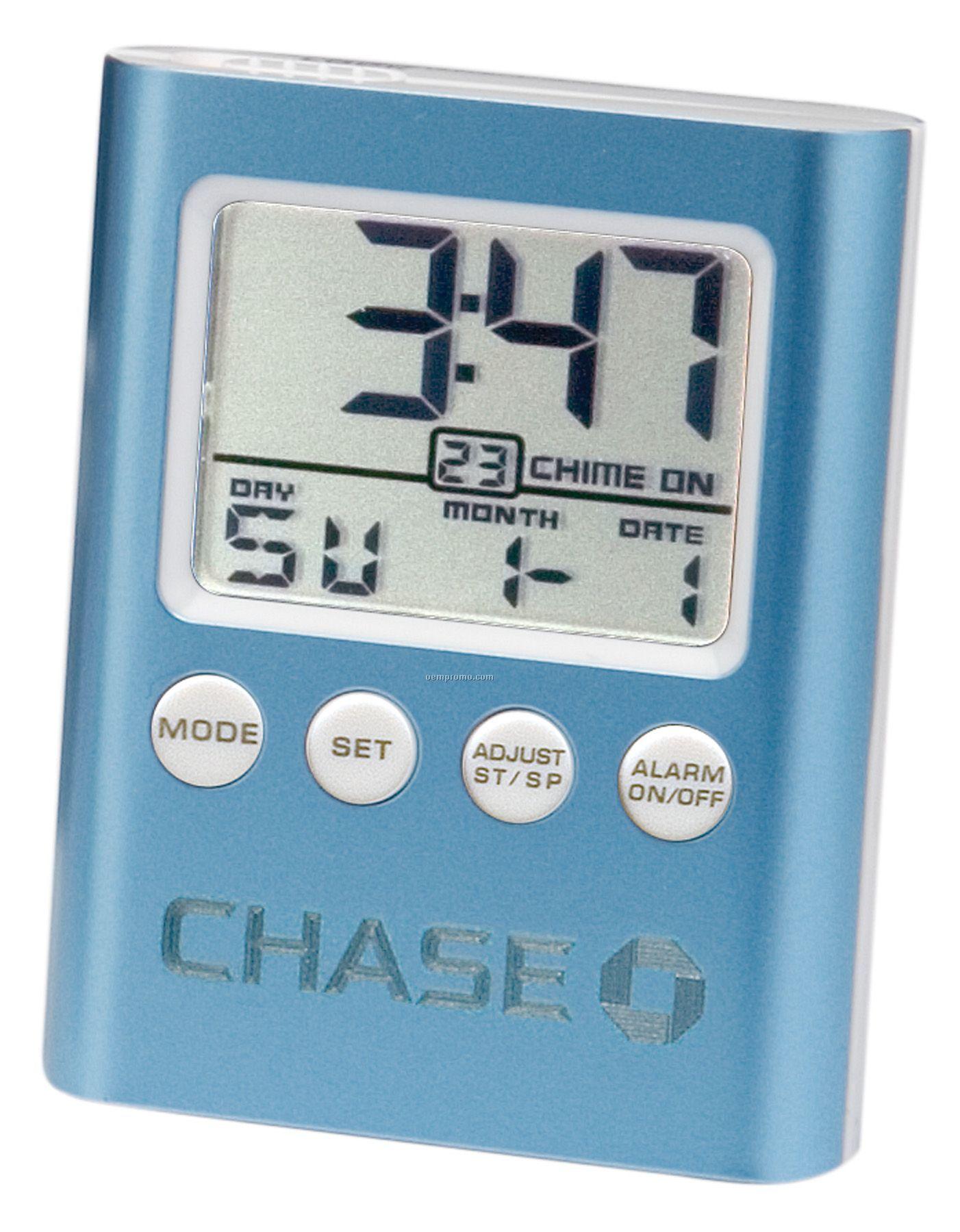 Blue C-time Lcd Travel Alarm Clock