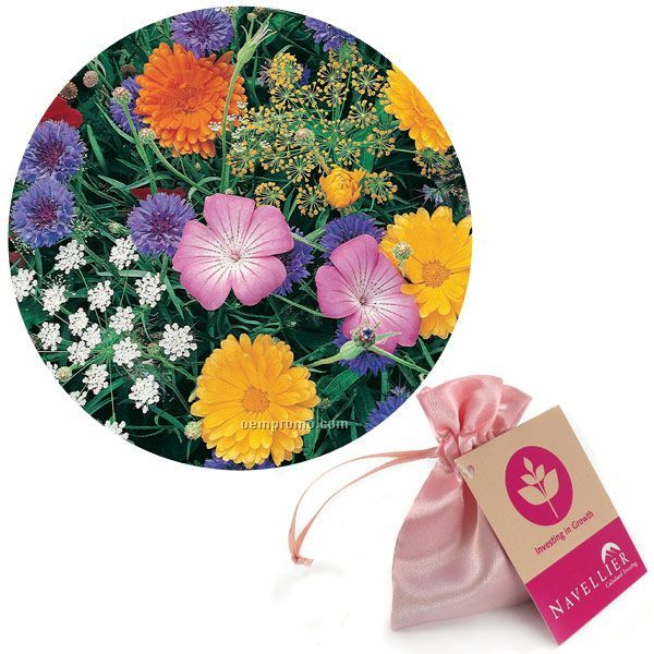 Butterfly Seed Mix In Satin Bag With Custom 4-color Hang Tag
