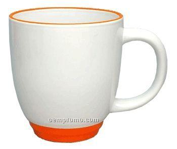 14 Oz. White Heartland Bistro Mug W/Orange Trim