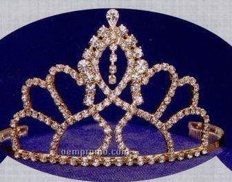 "3 7/8"" Austrian Crystal Rhinestone Tiara With Single Dangle"