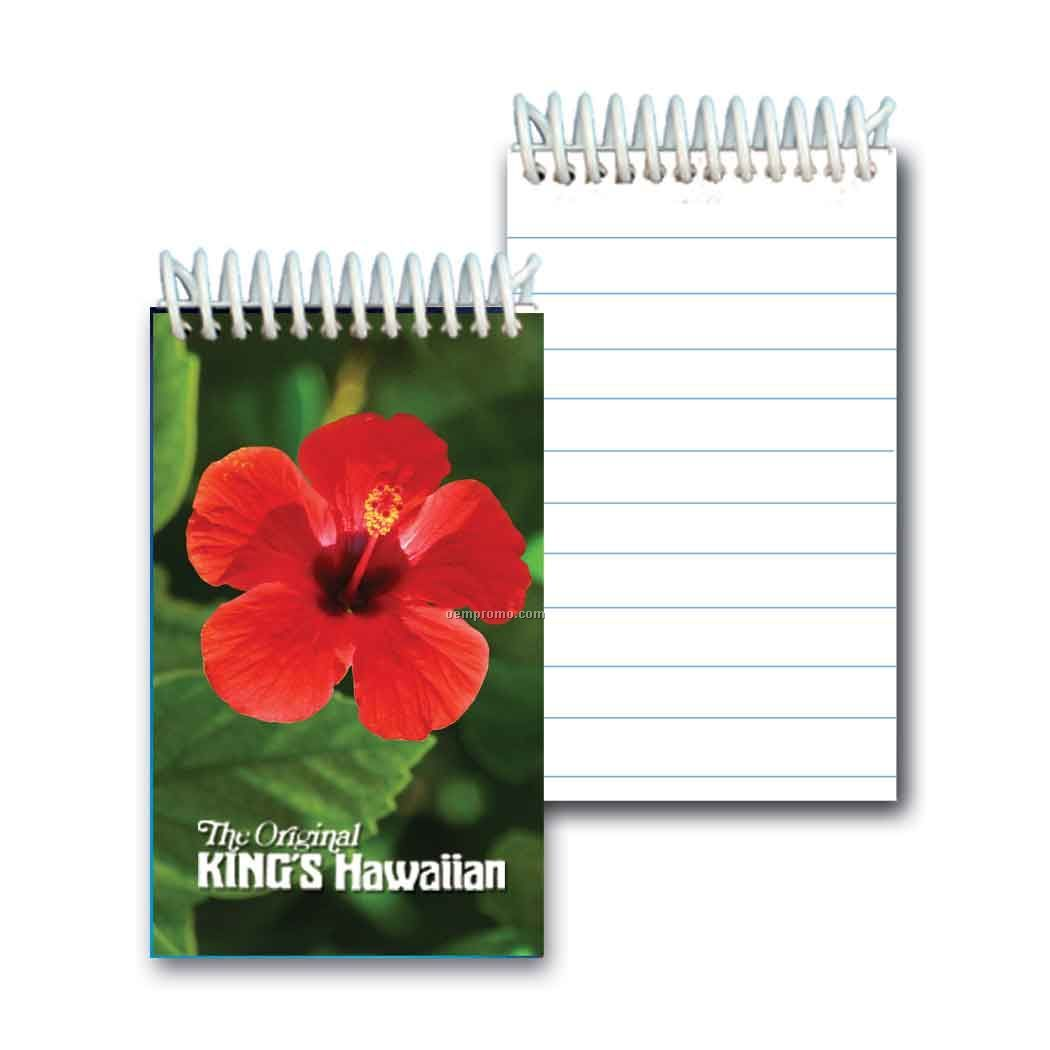 3d Lenticular Mini Notebook Stock/ Red Hibiscus (Imprinted)