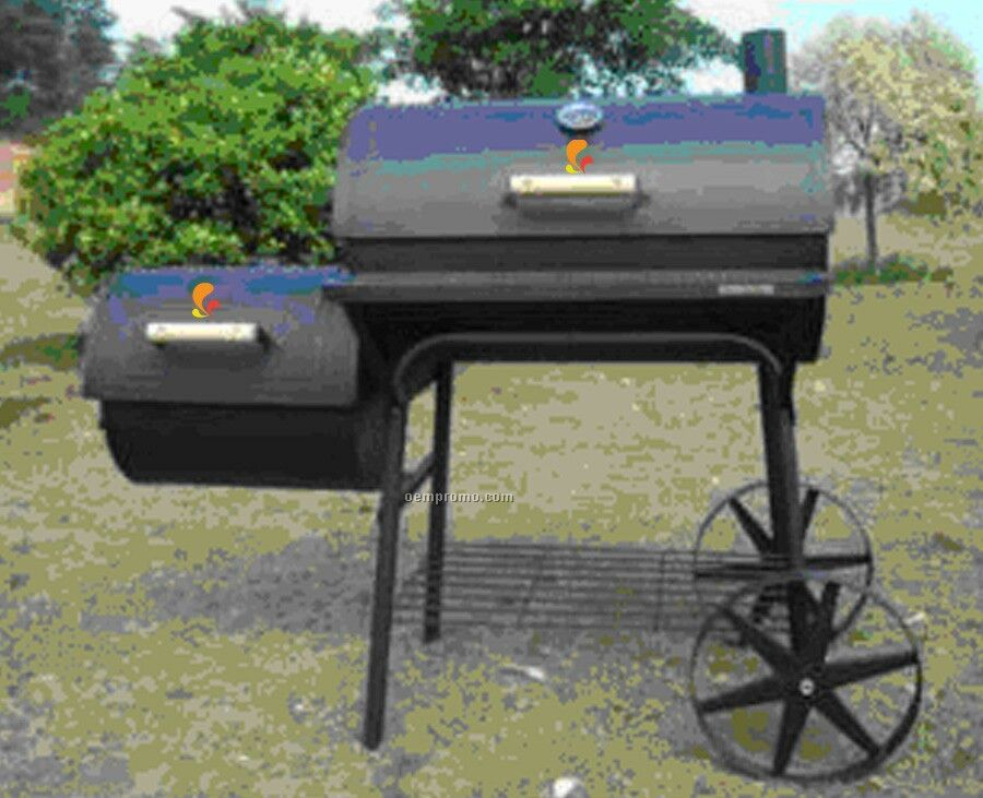 Barbecue Grill - Barrel Style W/Side Fire Box And Wood Handles