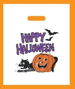 Reinforced Die Cut Handle Halloween Bag W/ Coupon (Pumpkin & Black Cat)