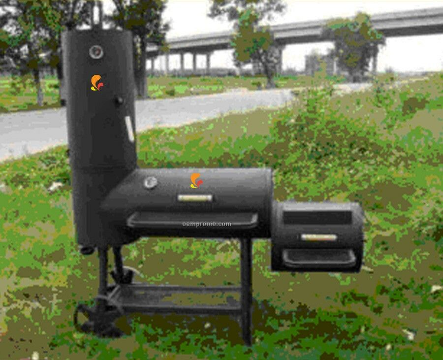 Barbecue Grills - Cylinder Style W/Smoker And Side Fire Box