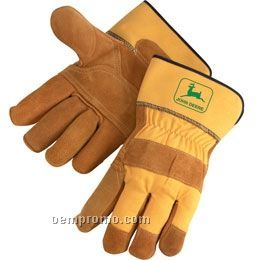 Bourbon Brown Premium Side Split Cowhide Leather Palm Gloves (Large)