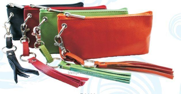 Croc Dark Brown Destiny Wristlet Wallet Pouch W/ Tassel