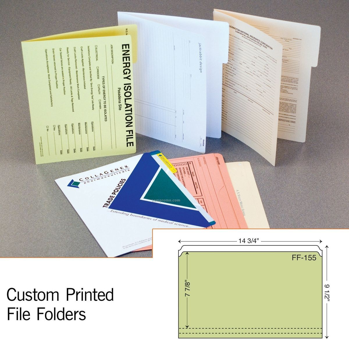Legal Sized File Folder W/ Full Tab & 2 Scores (1 Color/1 Side)