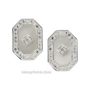 Sterling Silver Genuine Mother Of Pearl And Cubic Zirconia Earrings