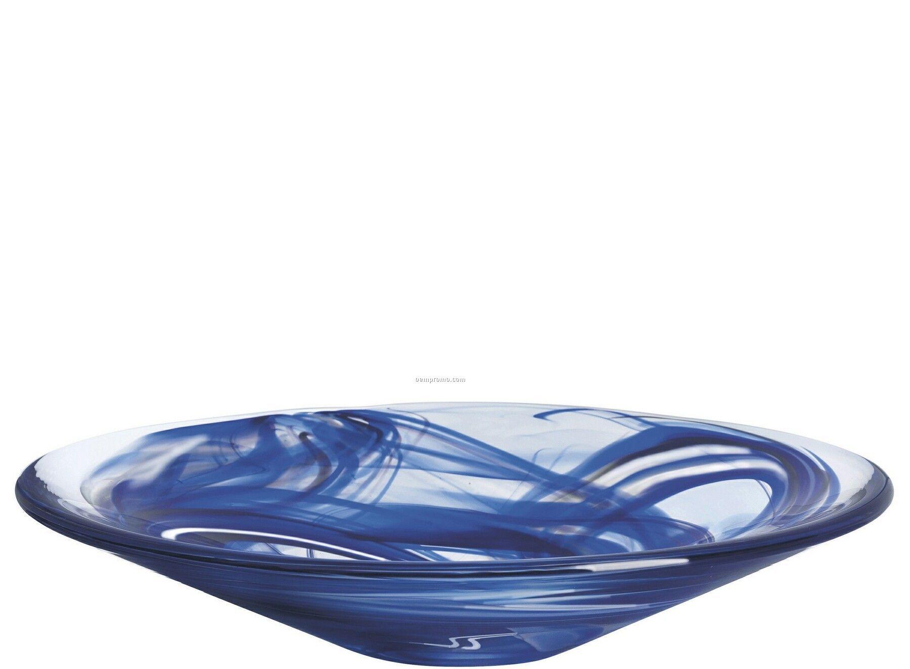 Tempera Crystal Dish W/ Blue Swirl By Anna Ehrner