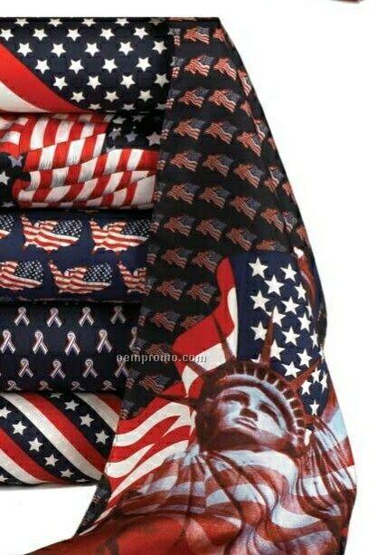 Wolfmark Novelty Neckwear 100% Silk Patriotic Scarf - Liberty & Justice