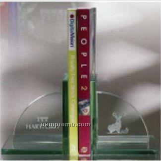 "5-1/2""X6""X6"" Jade Glass Americana Book Ends"