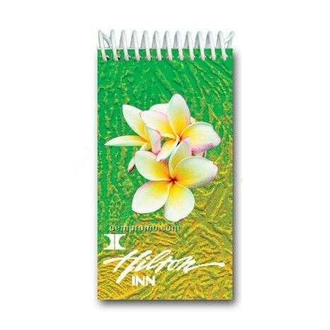 Custom 3d Lenticular Mini Notebook W/ White Garden Flower