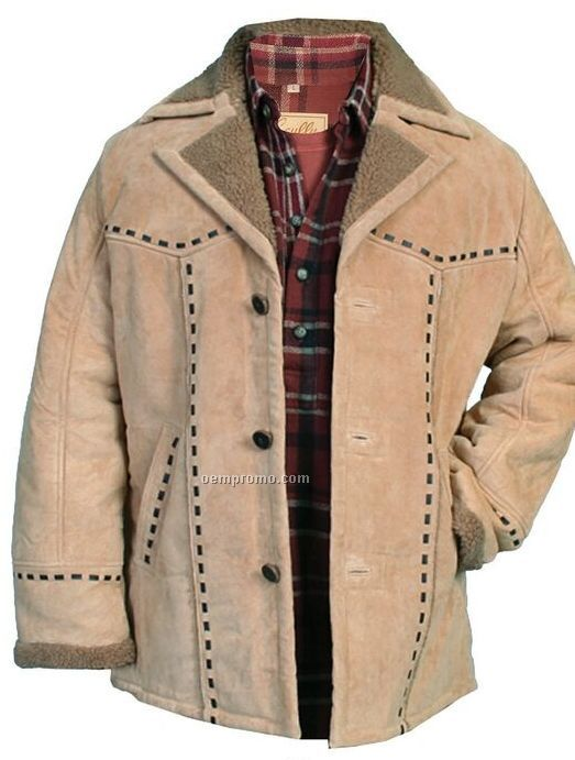 Men's Boar Suede Leather Faux Shearling Jacket S-xx-l