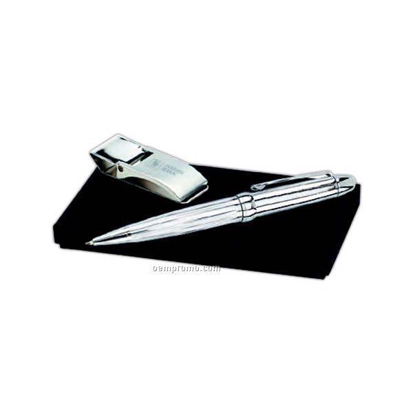 Arch Gift Set With Money Clip & Chrome Stripe Ballpoint Pen