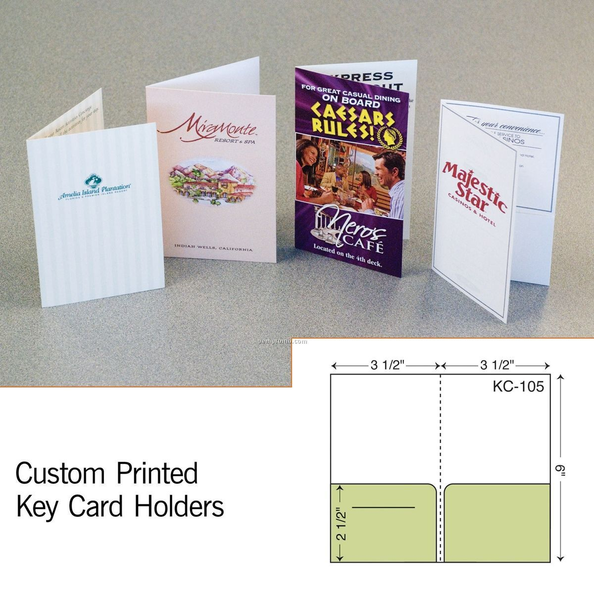 Key Card W/ Double Pockets (1 Color/1 Side)