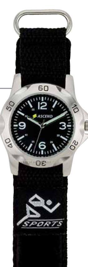 Watch Creations Unisex Sports Watch W/ Black Dial & Black Nylon Straps