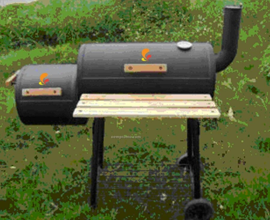 Barbecue Grill - Side Fire Box/Wooden Front Shelf & Side Chimney