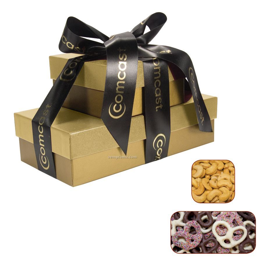 The Cosmopolitan Gold Gift Tower With Chocolate Pretzels & Cashews