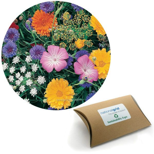 Butterfly Seed Mix In Kraft Pillow Box With Custom 4-color Label