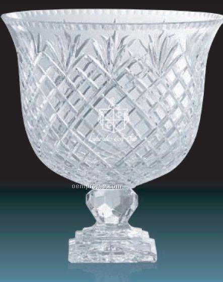 "Impressive Lead Crystal Award Bowl W/ Square Base /8"""