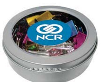 Small Round Magnetic Window Tin With Metallic Binder Clips