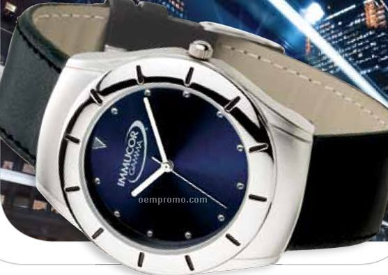 Watch Creations Men's Blue Sunray Dial Watch W/ Raised Markings
