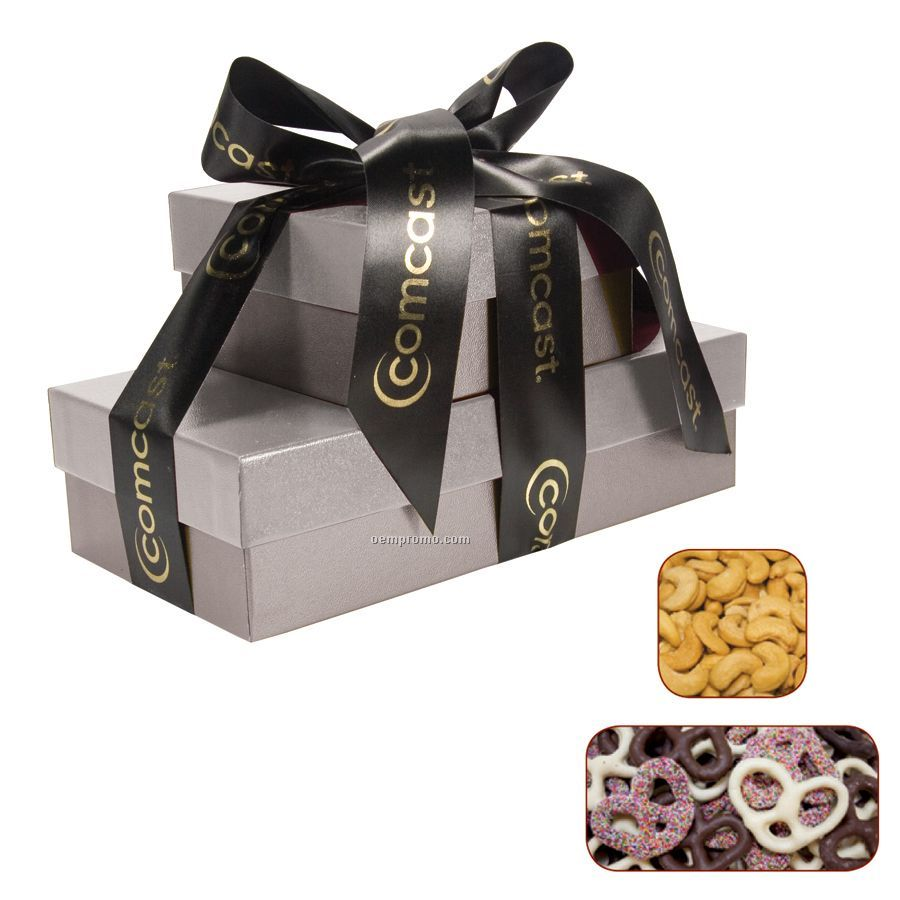 The Cosmopolitan Silver Gift Tower With Chocolate Pretzels & Cashews