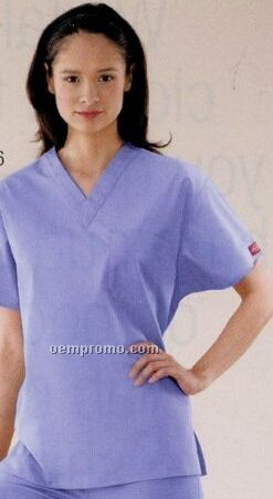 Dickies Unisex V Neck Scrub Top (Embroidery)