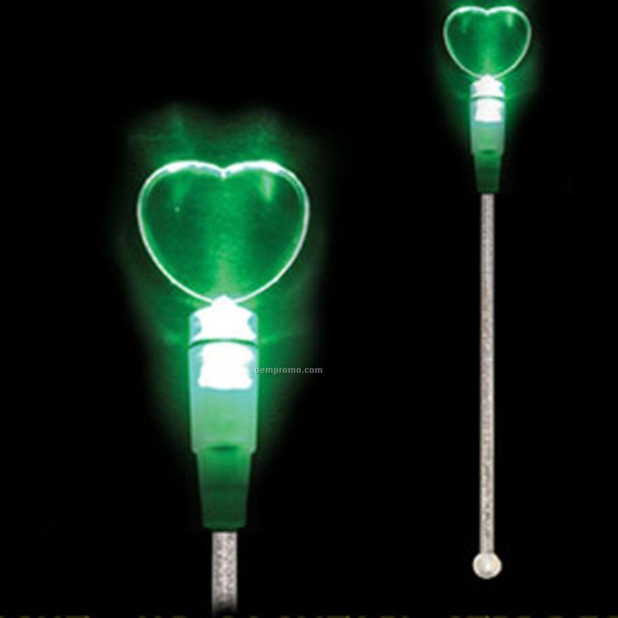 Light Up Stir Stick W/ Jade Green Heart Handle