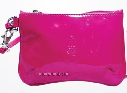 Breast Cancer Awareness Logo Cowhide Skinny Wristlet Pouch