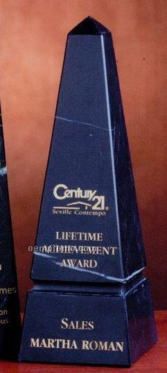"""Grooved Black Marble Obelisk Award (10"""")"""
