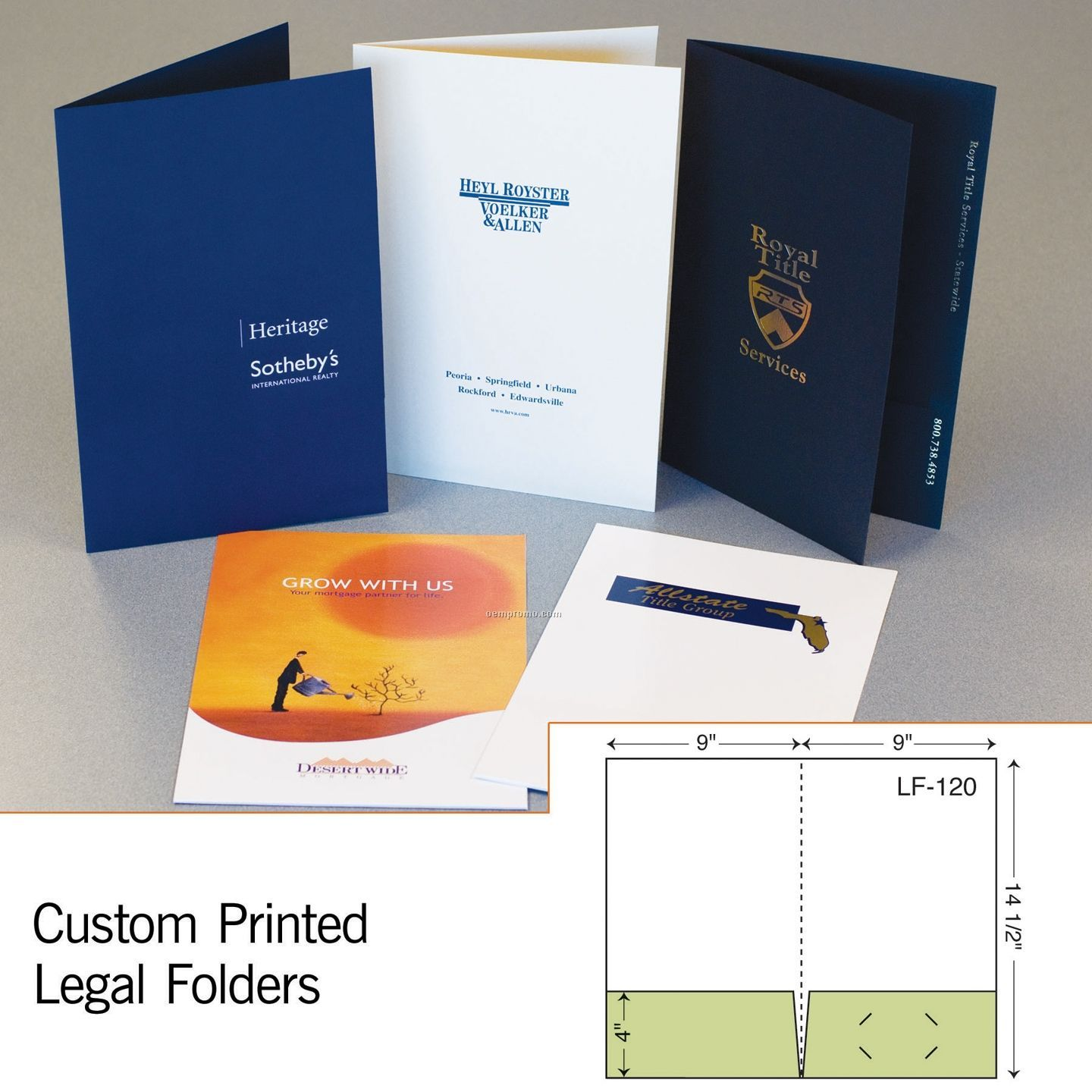 Legal Folder W/ Double Pockets (1 Color/1 Side)