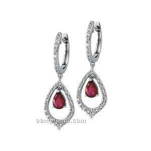14kw Genuine Ruby And 1/4 Ct Tw Diamond Earrings
