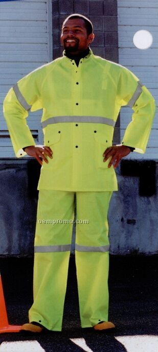3 Piece Safety Yellow Rainsuit With Jacket & Bib-overall (S-2xl) Blank